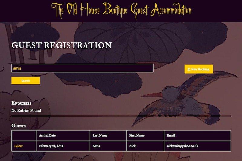 Old House Guest Registration Form 1